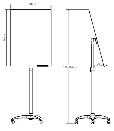 Flipchart szklany - rys. techn. - wymiary