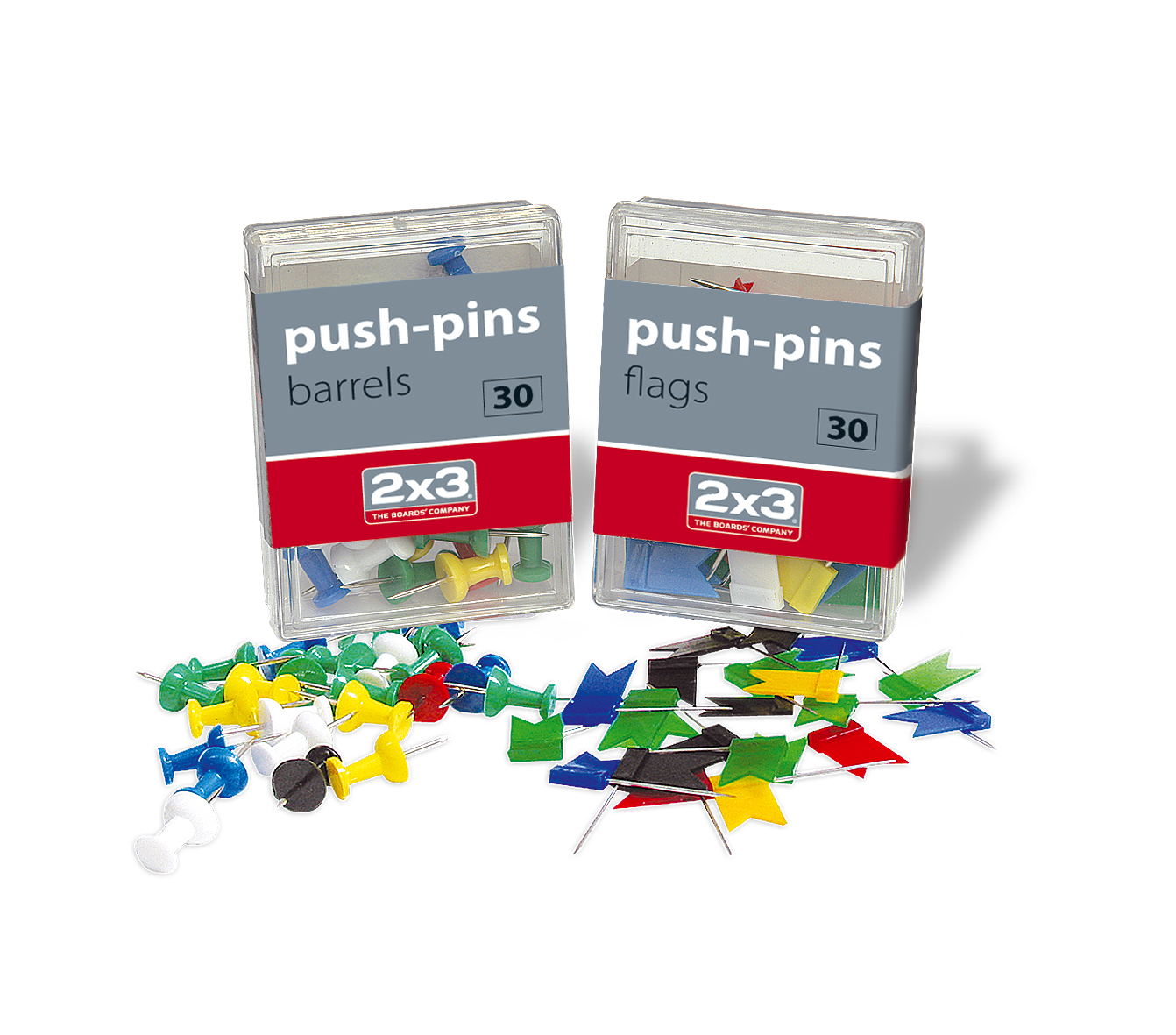 Push-pins - barrels / flags