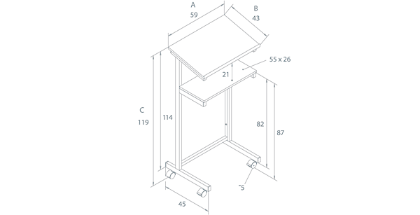 PF05 - technical drawing - dimensions