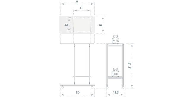 projection table Universal - tech. drawing - dimensions