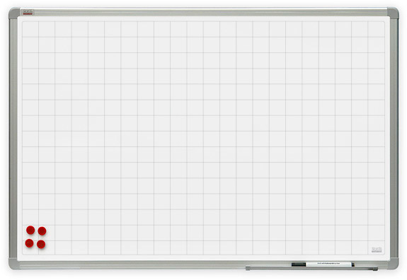 Dry erase whiteboard with grid pattern