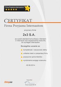 Certyfikat Firma Przyjazna Internautom