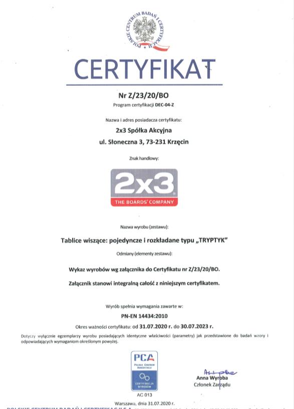 Certyfikat Zgodności nr Z/23/20/BO