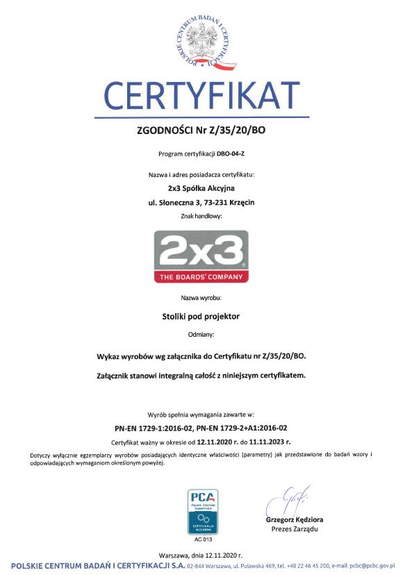 Certificate of Conformity No. Z/35/20/BO