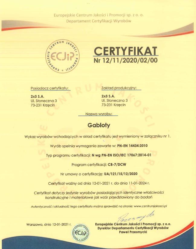 Certyfikat Zgodności nr 12/11/2020/02/00